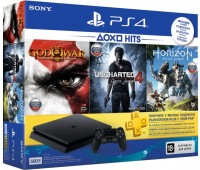 Игровая приставка SONY PlayStation 4 Slim (PS4 Slim) 500GB Black (U4+HZD+GOW3+PSPlus 3М)