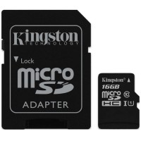 Карта памяти KINGSTON microSDHC UHS-I 45R 16GB class 10 + SD adapter